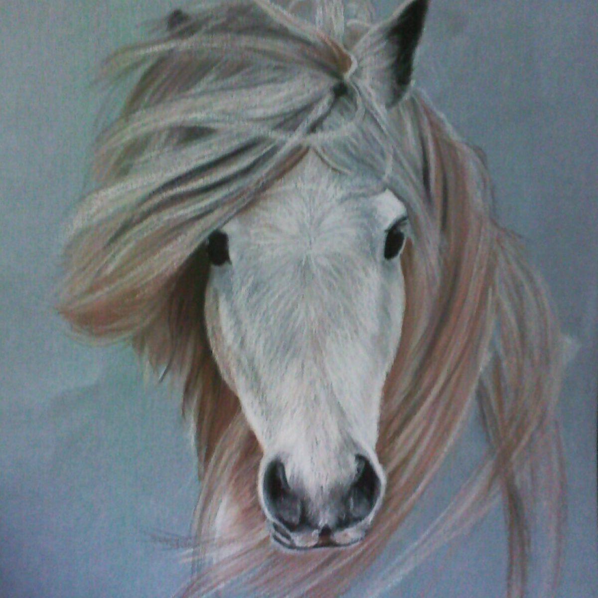 e.paard oliepastel op papier